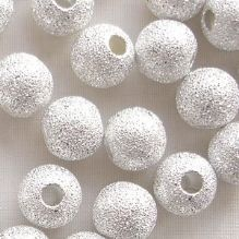 Silver Plated Beads 8mm Stardust Round - 10